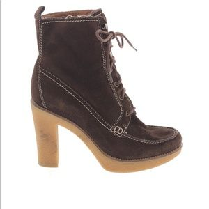 Marc Fisher Brown Suede Chunky Heel Boots 8.5
